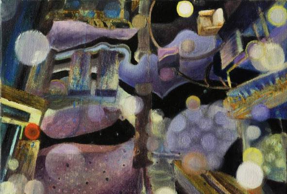 Sekretne życie Orbów. The Secret Life of Orbs. Oil on canvas 27x41cm