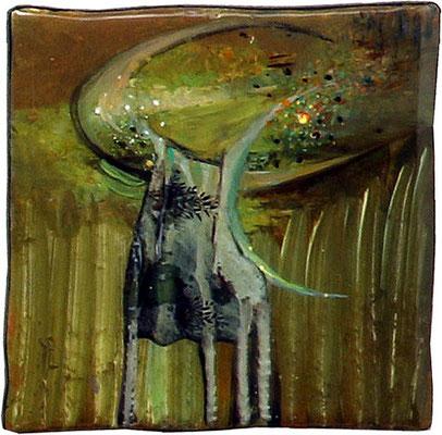 Byk, olej na kaflu ceramicznym