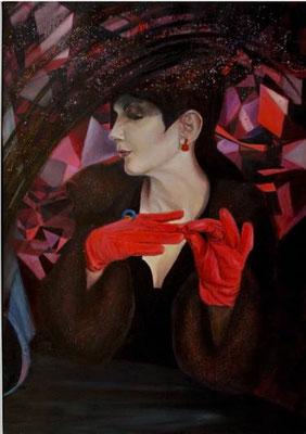 Czerwony. Poza sceną. Red (Behind the Scenes). Oil on canvas 115x 81cm