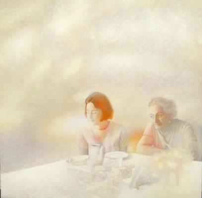 Ania i Weronika, olej na płótnie 100x100 cm