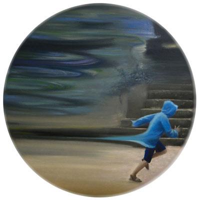 """Biegnij. Olej na płótnie, tondo 60cm Obraz inspirowany wierszem Bogdana Jaremina """"Biegnij, biegnij przez wielkie znużenie, tylko zwycięzca może w nagrodę biec dalej"""""""