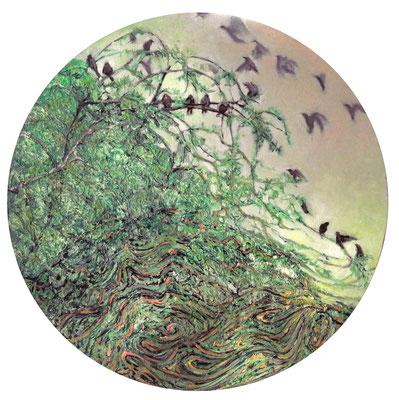 Mapa ptasich lotów, olej na płótnie, 50cm