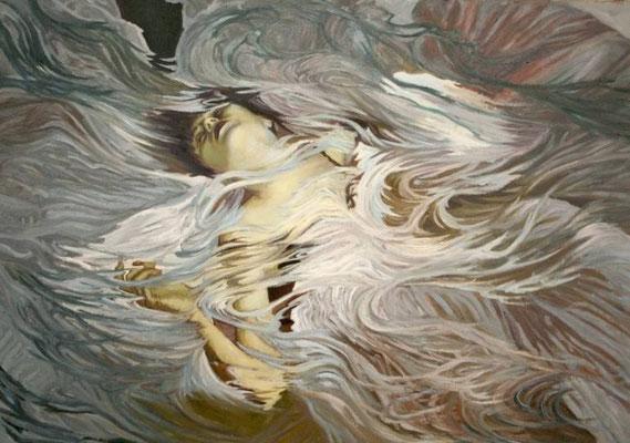 Biały. Ofelia. White (Ophelia). Oil on canvas 114x161cm