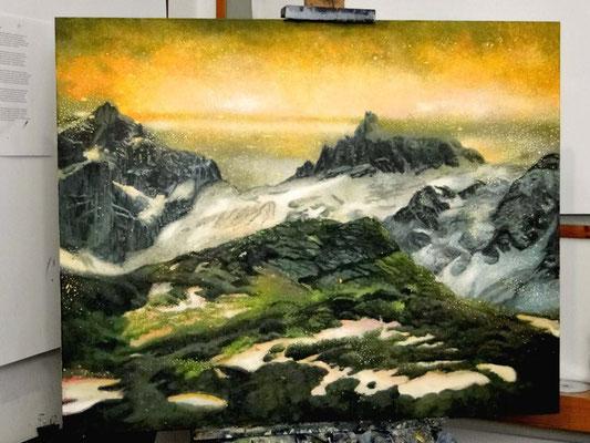 Znajdż swój sen. Góry. Find Your Dream - Mountains. Oil on canvas 80x 100 cm