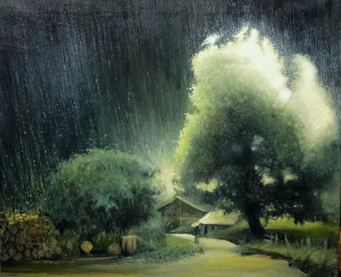 Znajdż swój sen. Deszcz. Find Your Dream - Rain. Oil on canvas 54x64 cm
