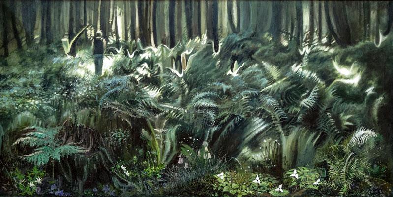 Las (Kwiat paproci), olej na płótnie 60x120cm