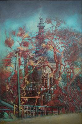 Wieża, olej na płótnie