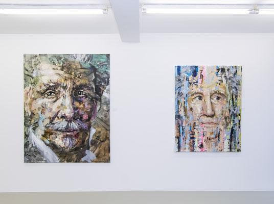 "Ausstellungsansicht 8 INDEX 20: Andreas Flügel, links ""Karl May"", rechts ""Goethe"""