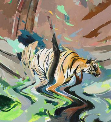 ALPAY EFE  I  Schroedinger's cat revisited  I  Öl auf Holz  I  200 x 180 cm