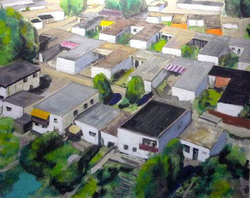 ANDREAS FLÜGEL  I  Bungalowsiedlung  I  Acryl und Lack auf Leinwand  I  120 x 150 cm