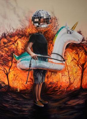 DAVID UESSEM  I  firestarter  I  Öl und Acryl auf Leinwand  I  160 x 120 cm
