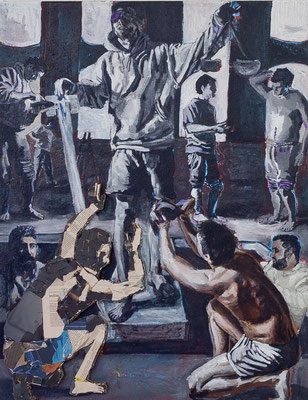FABIAN PFLEGER  I  Gerechtigkeit  I  Collage, Öl auf Leinwand I  90 x 70 cm