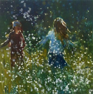 RENATA TUMAROVA  I  Playground nature 01  I  Öl auf Leinwand  I  80 x 80 cm (Repro: Eric Tschernow)
