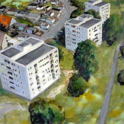 ANDREAS FLÜGEL  I  Neuer Wohnraum  I  Acryl und Lack auf Leinwand  I  100 x 100 cm