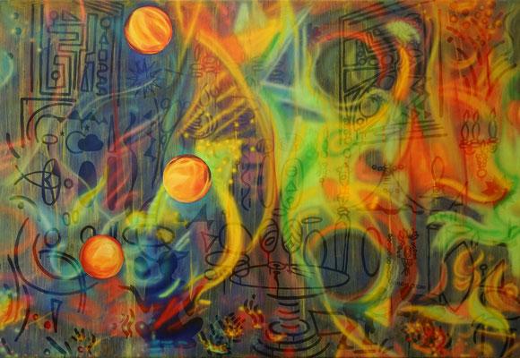 IVO LUCAS  I  Green Room I  Öl, Acryl, Pigmente, Lack auf Leinwand  I  110 x 160 cm
