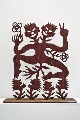 REN RONG  I  Blumenmensch Dialog  I  Corten-Stahl, handgeschnitten  I  Höhe 150 cm