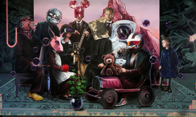 DAVID UESSEM  I  family affairs  I  Öl und Acryl auf Leinwand  I  150 x 250 cm