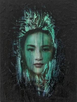 JINY LAN  I  Schamanin - Minhua  I  Öl auf Leinwand  I   40 x 30  cm