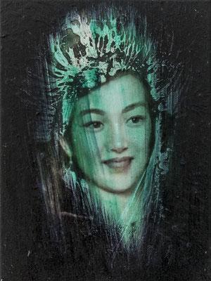 JINY LAN  I  Schamanin - Miao Miao  I  Öl auf Leinwand  I   40 x 30  cm