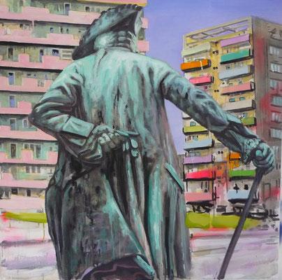 ANDREAS FLÜGEL  I  Friedrich auf Straße  I  Acryl und Lack auf Leinwand  I  100 x 100 cm