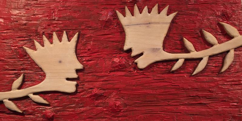 REN RONG  I  Dialog  I  Holz, geschnitzt farbig gefasst / rot  I  32 x 62 cm