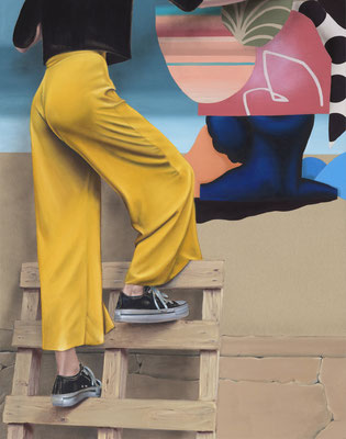 HOLGER KURT JÄGER  I  Femme peintre avec palette  I  Öl auf Leinen  I  140 x 110 cm