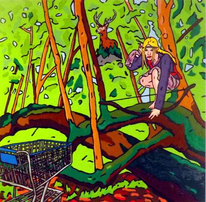 DEREK CURTIS  I  The hunt  I  Öl auf Aluminium  I  50 x 50 cm