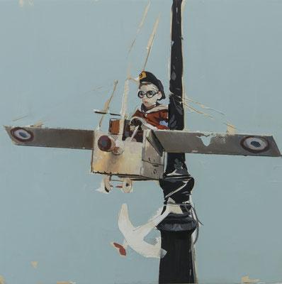 ALPAY EFE  I  The flight  I  Öl auf Holz  I  40 x 40 cm