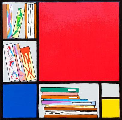 DEREK CURTIS  I  Bookcase Composition no 2  I  Lack auf Aluminium  I  70 x 70 cm