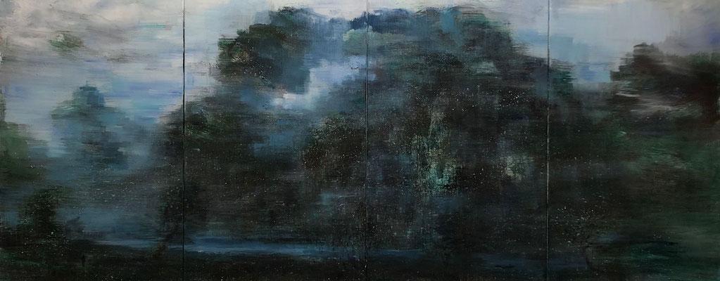 XIANWEI ZHU  I  life in mountain  I  Acryl auf Leinwand  I  116 x 292 cm (4-teilig)