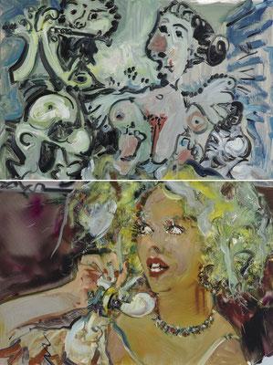 MATTHIAS KÖSTER  I  Dejeuner Picasso Telefon Petersburg  I  Öl auf Aluminium  I  66 x 50 cm