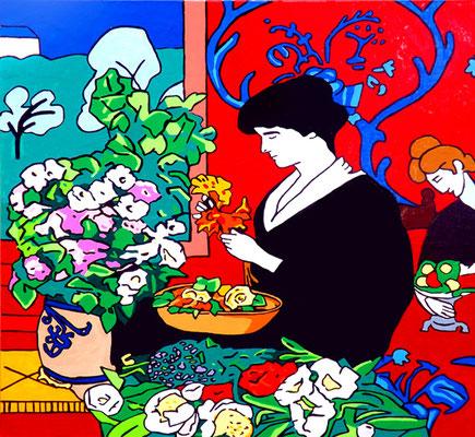 DEREK CURTIS  I  Arranging flowers in the Red Room  I  Öl auf Aluminium  I  50 x 50 cm