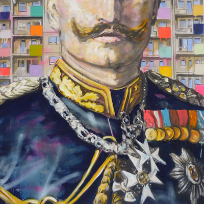 ANDREAS FLÜGEL  I  Orden und BalkoneI  Acryl und Lack auf Leinwand  I  130 x 130 cm