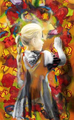 MARTIN HERLER  I  little painter  I  Öl auf Stoff  I  130 x 80 cm