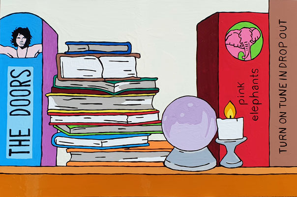 DEREK CURTIS  I  Wow man! Hippy Dippy Books  I  Lack auf Aluminium  I  40 x 60 cm