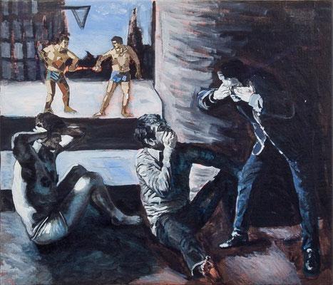 FABIAN PFLEGER  I  Sanbiki no saru I  Collage, Öl auf Leinwand  I  50 x 60 cm