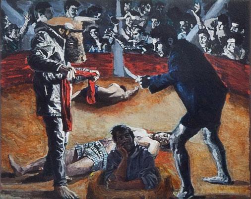 FABIAN PFLEGER  I  Konfrontation  I  Öl auf Leinwand I  30 x 45 cm