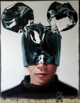 DAVID UESSEM  I  minnie mask 1  I  Öl und Acryl auf Leinwand  I  180 x 140 cm