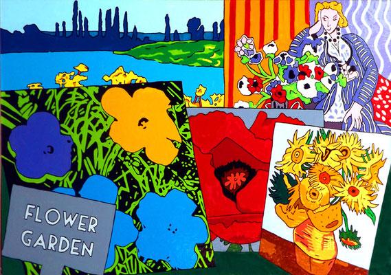 DEREK CURTIS  I  Flower Garden  I  Öl auf Aluminium  I  135 x 90 cm