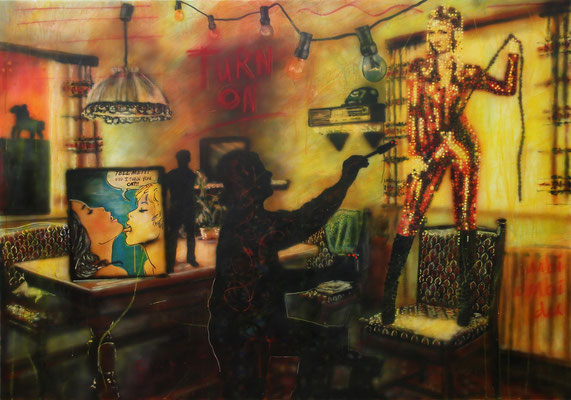 IVO LUCAS  I  Tell me! Did I turn you on  I  Öl, Acryl, Pigmente, Lack auf Leinwand  I  150 x 200 cm