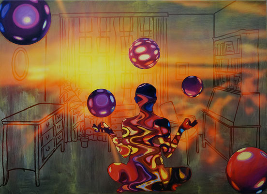 IVO LUCAS  I  Arbeitszimmer  I  Öl, Acryl, Pigmente, Lack auf Leinwand  I  130 x 180 cm