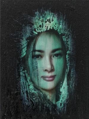 JINY LAN  I  Schamanin - Yan Zi  I  Öl auf Leinwand  I   40 x 30  cm