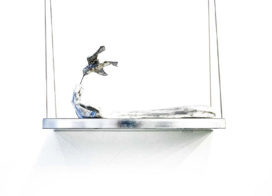 ANGELA SCHILLING  I  Das Missverständnis  I Aluminium, Stahl  I  45 x 20 x 15,5 cm