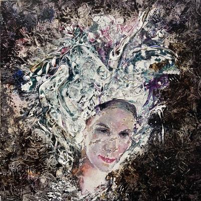 JINY LAN  I  Schamanen - Victoria I  Mischtechnik auf Holz  I   55 x 55  cm