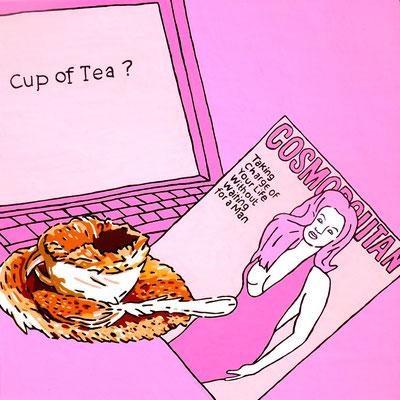 DEREK CURTIS  I  Cup of tea  I  Öl auf Aluminium  I  50 x 50 cm
