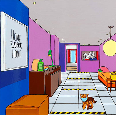 DEREK CURTIS  I  Home Sweet Home  I  Öl auf Aluminium  I  90 x 90 cm