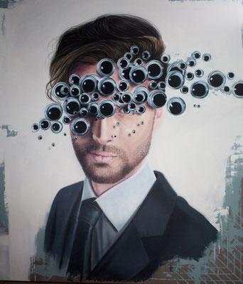 DAVID UESSEM I Eyes wide shut 2 I Öl und Acryl auf Leinwand I 160 x 140 cm