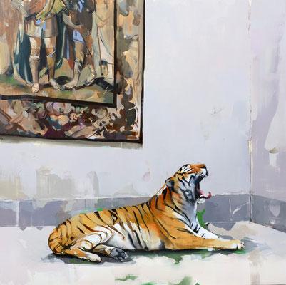 ALPAY EFE  I  Fine Art Connoisseur (Tapestry)  I  Öl auf Holz  I  60 x 60 cm