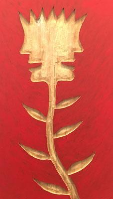 REN RONG  I  Pflanzenkopf  I  Holz, geschnitzt farbig gefasst / rot  I  55 x 32 cm