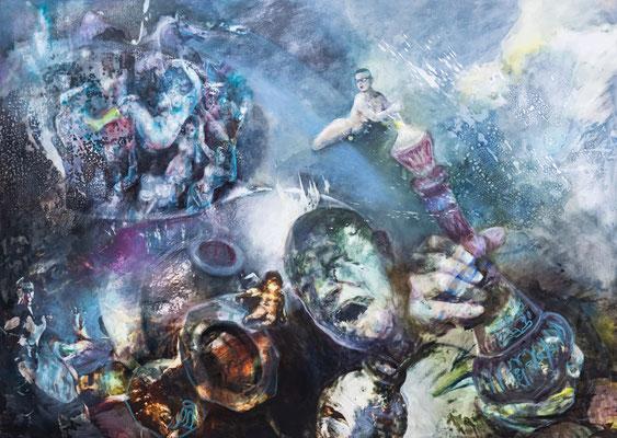 JINY LAN  I  Jiny - out of the bottlee  I  Mischtechnik auf Leinwand  I   100 x 140  cm
